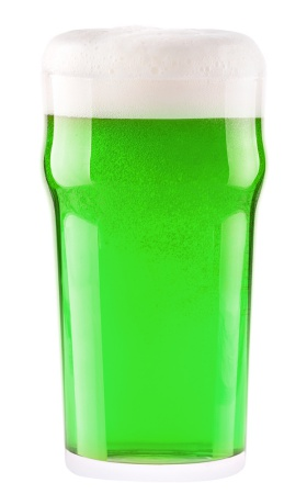 Irish green beer for St Patrick's Day