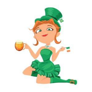 Leprechaun girl with beer